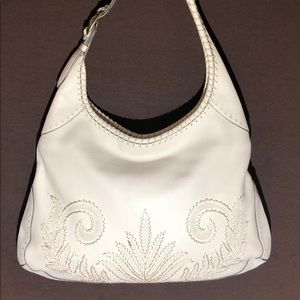 Cole Haan white leather bag w/ embroidery design